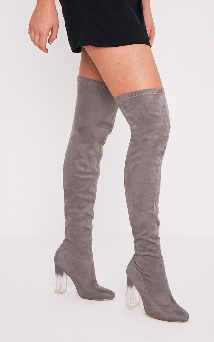 Grey Faux Suede Ombre Heel Over The Knee Boots - Boots ...