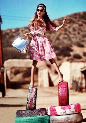 dress ariana grande long sleeves pink dress