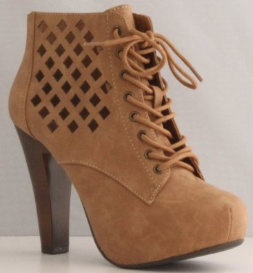 Amazon.com: Qupid Puffin-62 Camel High Heel Boot Nubuck Lace up Platform Bootie - Perforated High Heel Camel Bootie: Shoes