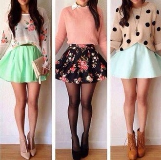 skirt floral blouse sweater skater pink flower skirt flower swater flower flower sweater floral skirt green skirt blue skirt skater skirt dress