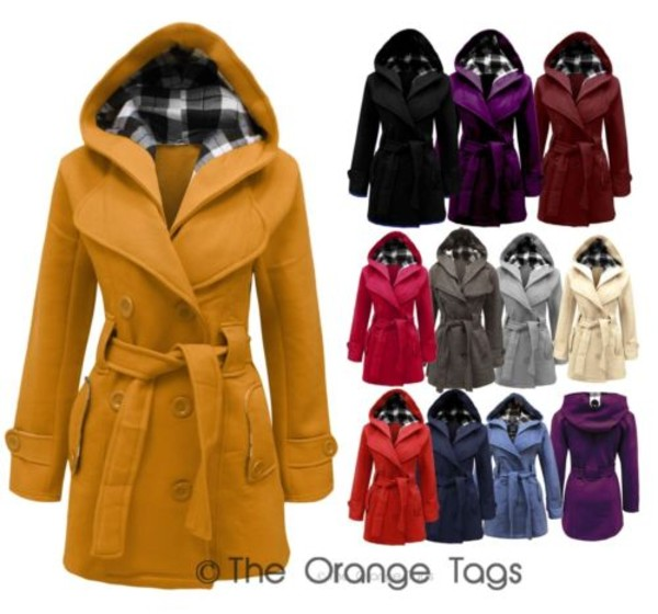 jacket women belted button coat coat hooded jacket military style mustard plus size