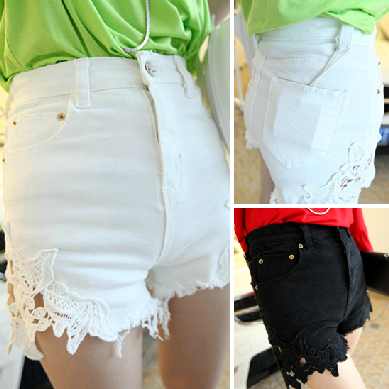 2013 super unique lace high waist denim shorts k39  (Free shipping)-inJeans from Apparel & Accessories on Aliexpress.com