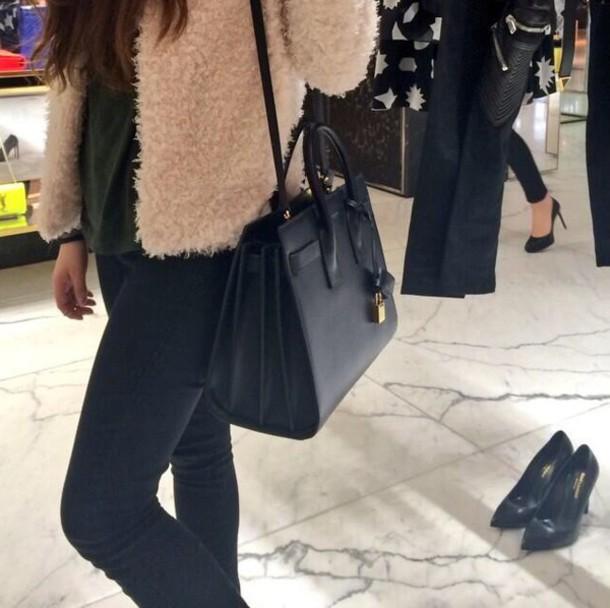 bag black black bag coat fur coat fashion style cardigan