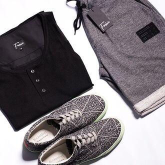shorts fusion clothing grey shorts shoes black grey short shorts tank top graphite black tank top