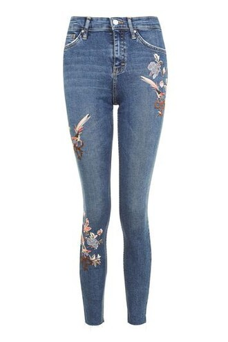 jeans embroidered floral blue