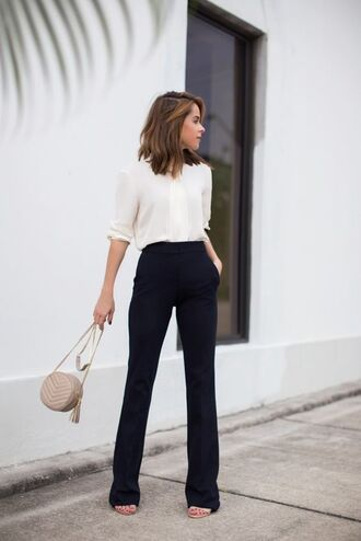 blouse office outfits black flare pants round shoulder bag shoulder bag nude shoulder bag flare pants white blouse