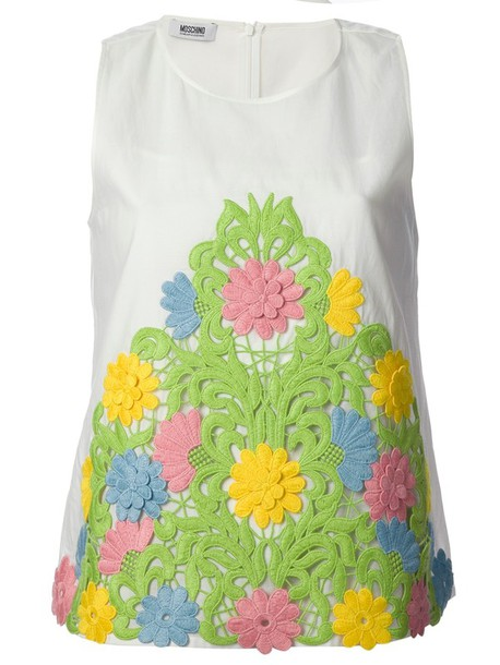 tank top flower appliqué top moschino moschino cheap and chic appliqué top flower appliqué top white flowers floral