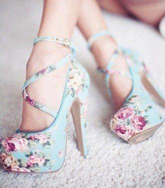 shoes flowers heels high heels cute high heels floral high floral heels tumblr cute trendy laces girly pink light blue purple weheartit polyvore summer boho