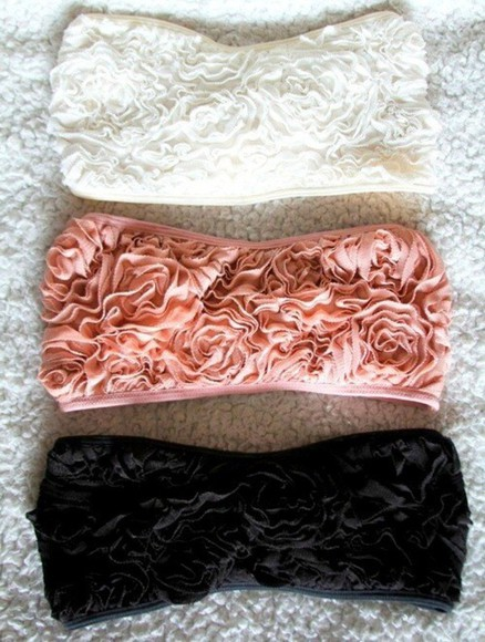bandeau rose top rosebandeau www.ebonylace-streetfashion.com ebony lace EBONY LACE tank top floral t-shirt clothes roses floral underwear pink swimwear black bikini white blouse bandeau ruffle pastel black white cute summer outfits bra flower bra flower tank top white bandeau black bandeau pink bandeau