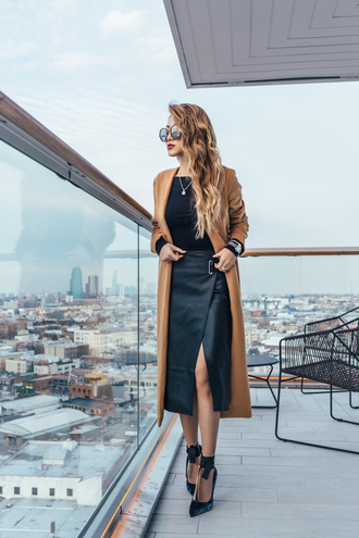not jess fashion blogger coat top skirt sunglasses shoes winter outfits fall outfits leather skirt pumps camel coat