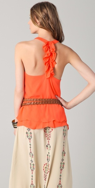 Parker ruffle back racer tank in orange (coral)