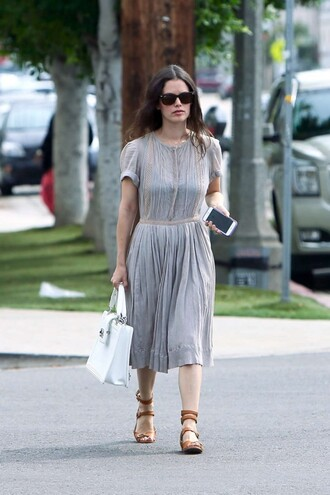 shoes sandals midi dress rachel bilson