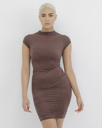 dress brown brown dress suede bodycon suede dress mini dress bodycon dress