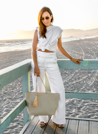 pants tumblr top wide-leg pants white pants white top sleeveless sleeveless top bag tote bag grey bag sunglasses aviator sunglasses spring outfits sydne summer's fashion reviews & style tips blogger t-shirt jeans skirt shorts jewels dress jacket