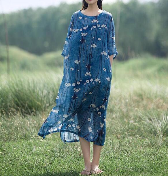 dress maxi dress printed linen gown