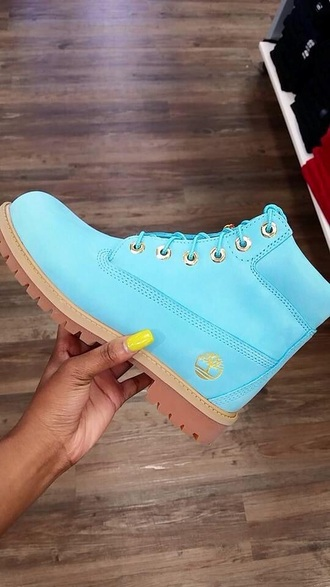 shoes timberlands light blue icy ankle boots