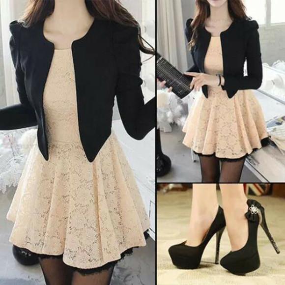 black blazer beige dress