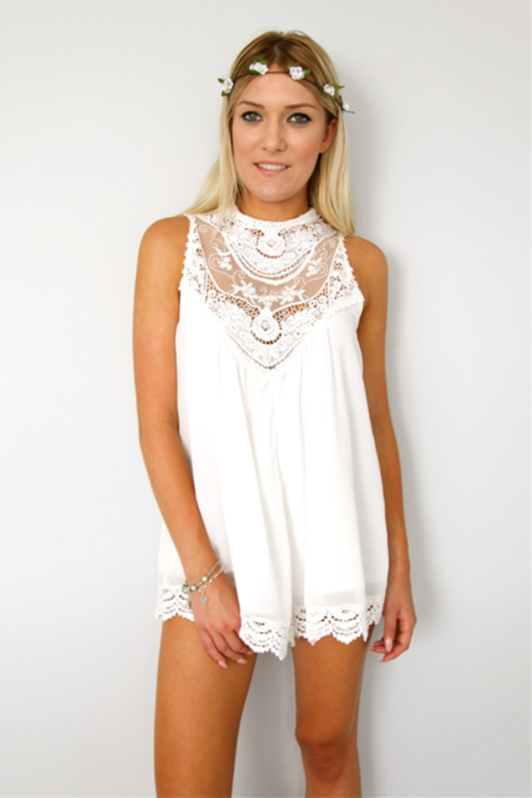 dress lace pretty romper white cute
