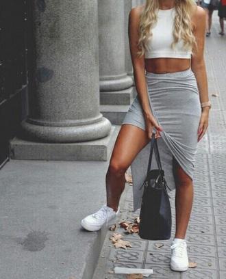 skirt grey grey skirt maxi long maxi skirt red lime sunday