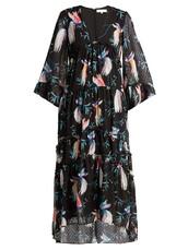 dress,maxi dress,maxi,chiffon,print,black