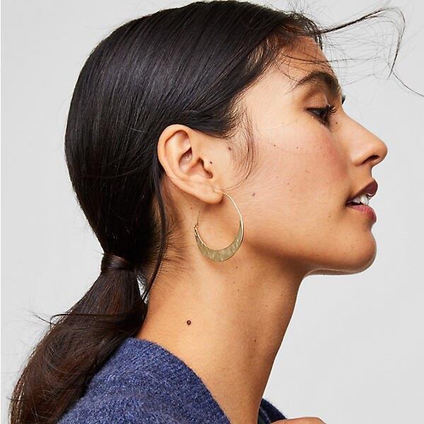 LOFT Crescent Moon Hoop Earrings
