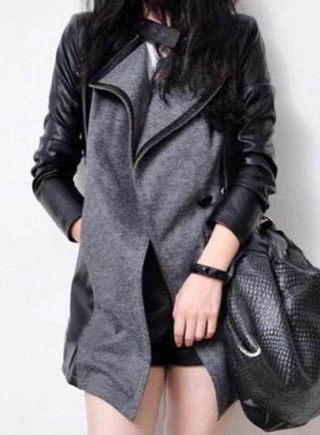 jacket grey jacket coat grey leather jacket