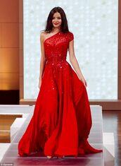 dress,red,prom dress,long dress,gown,one shoulder,off the shoulder,embellished,sparkle,red prom dress