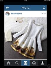 dress,preppy,glamour,posh,white dress,big necklace,jewels