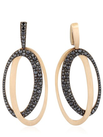 earrings white black gold jewels