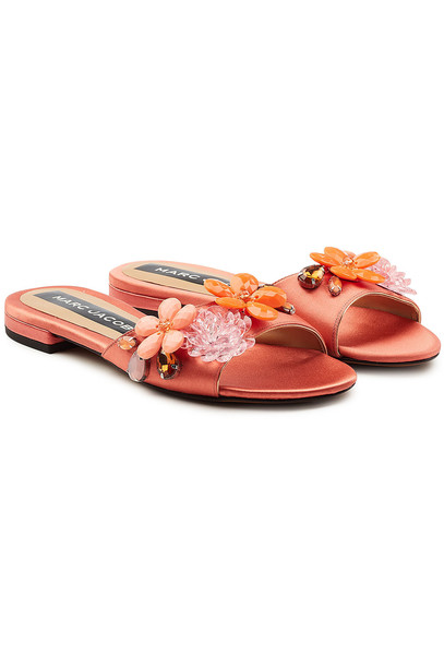 Marc Jacobs Clara Embellished Satin Sandals  in pink