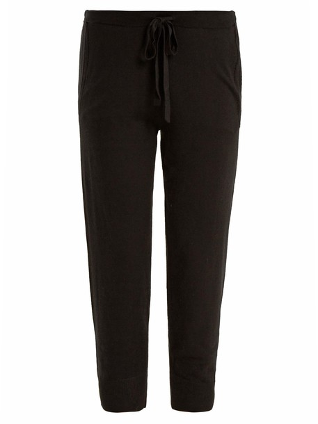 Skin drawstring wool black pants