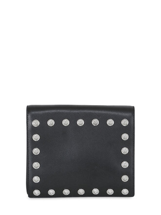 leather clutch studded clutch leather black bag
