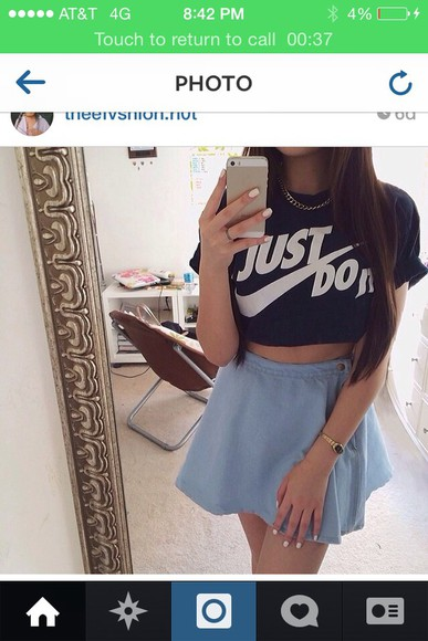 t-shirt nike skirt shirt fashion tumblr outfit cute dress jewels