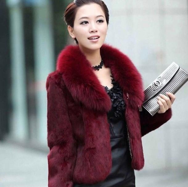 coat jacket red burgundy fur coat