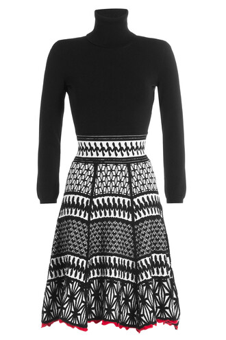skirt knit embroidered black