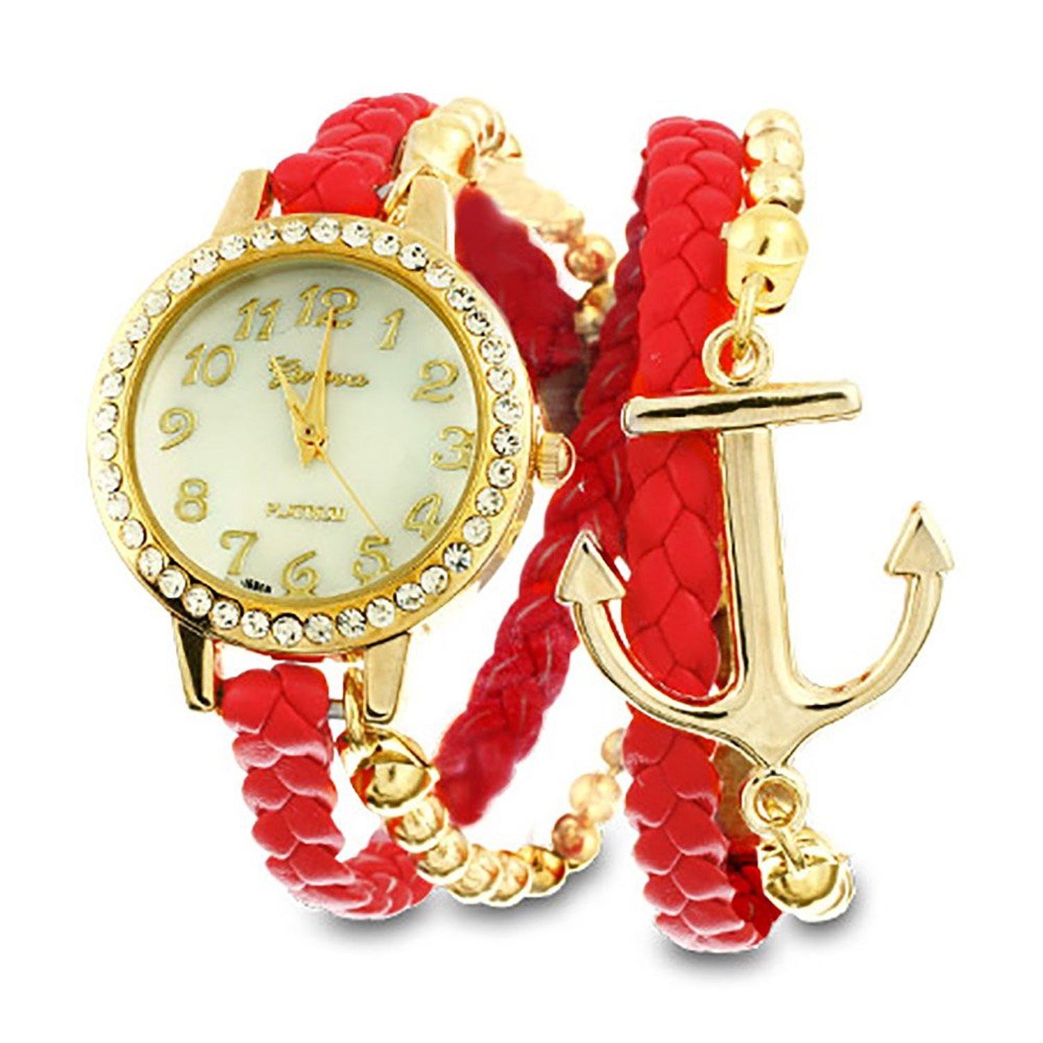 Amazon.com: Red and Gold Braided Anchor Wrap Watch: Casual Watches: Jewelry