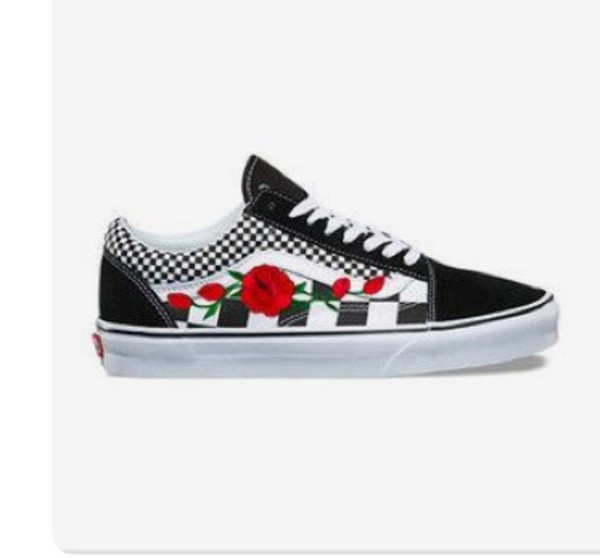e68282ab9 Rose Buds Checkered Unisex Custom Rose Embroidered-Patch Vans Old ...