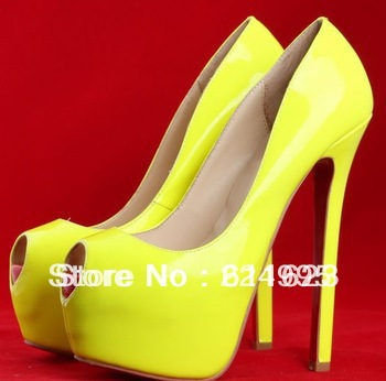 2013 Daffodil Pumps 16cm Highness yellow leather peep toe platform red bottoms women's dress shoes new arrival-in Pumps from Shoes on Aliexpress.com