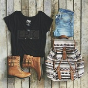 shorts,shoes,booties,boots,brown shoes,summer shorts,blouse,t-shirt,epic,bag,shirt,epic t-shirt,black,black text,outfit,backpack,love,living,aztec bag,tribal cardigan,skirt,cardigan,jeans,woven backpack,black crop top,black top,brown leather boots,brown,aztec,tribal backpack