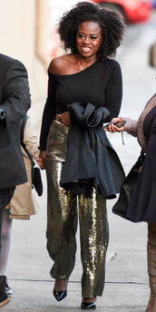 blouse,top,gold,gold sequins,viola davis,sequin pants,pants,metallic