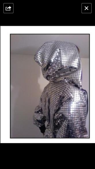 jacket silver mirrored mirror hoodie zip jacket coat gym sports dance disco
