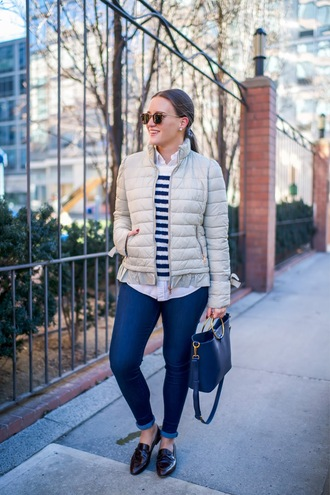 covering bases curvy blogger coat sweater shoes jeans jewels bag sunglasses loafers handbag striped sweater skinny jeans