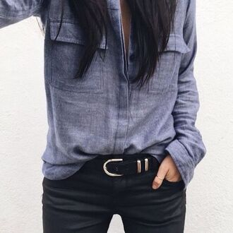 shirt jacket spring fall outfits grey mode fashion blue jeans denim sexy