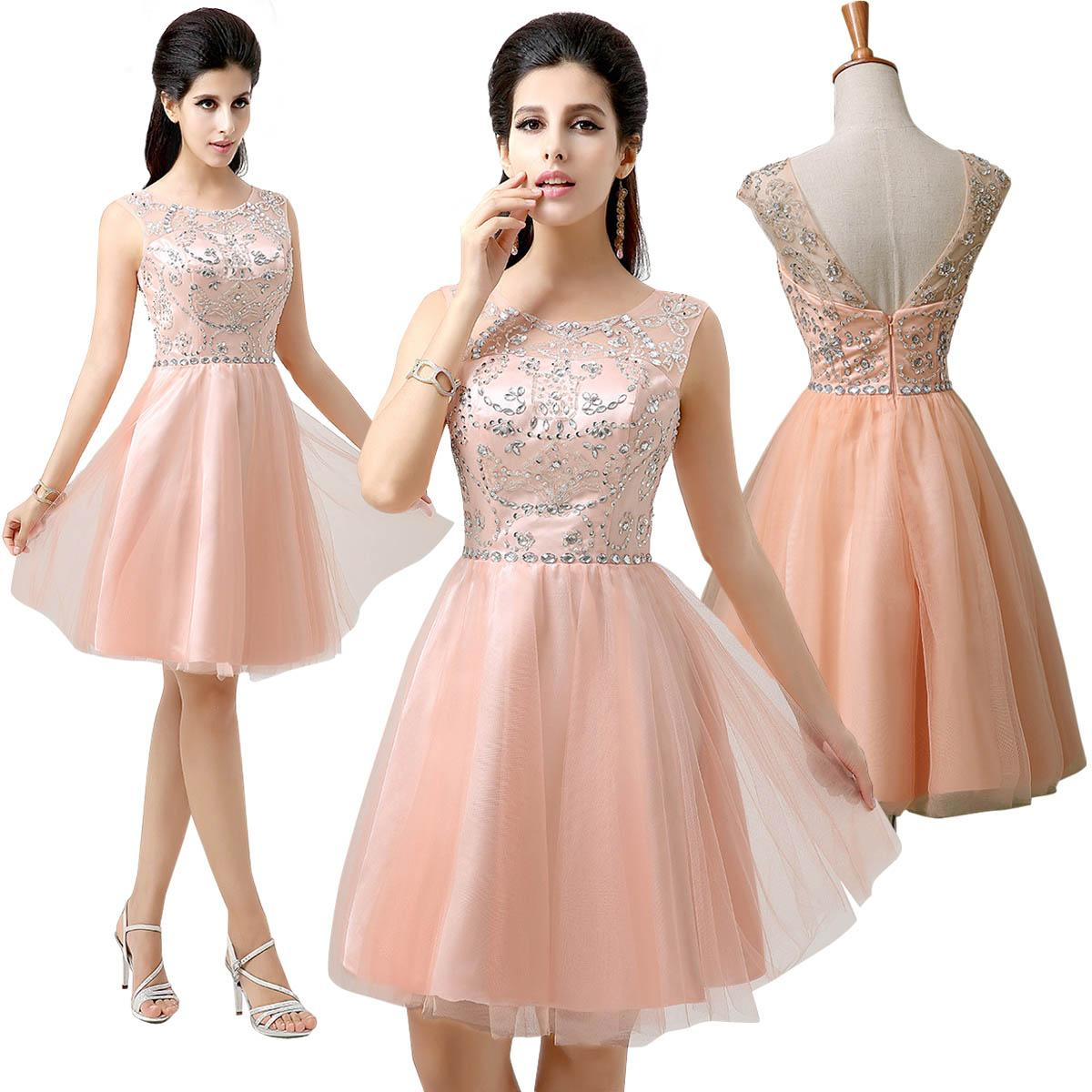 d1d2ac0dbc5 Actual Image 2015 Blush Short Prom Dresses Under 100 A-line Tulle Capped  Sleeves Crystal Shining ...