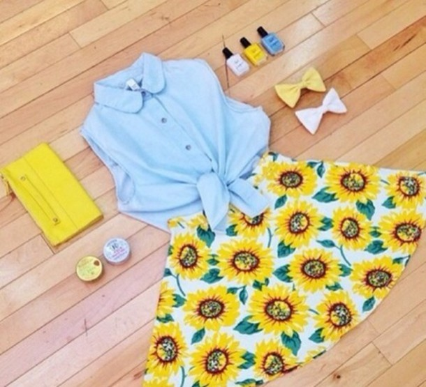 blouse skirt jewels nail polish bag dress top daisy denim hair bow hair bow tank top yellowskirt sunflower skirt skater skirt hair accessory shirt spring skirt