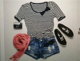 shirt striped shirt bow black and white