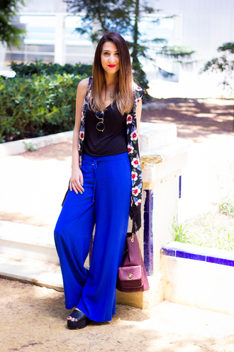 shoes and basics blogger blue pants wide-leg pants