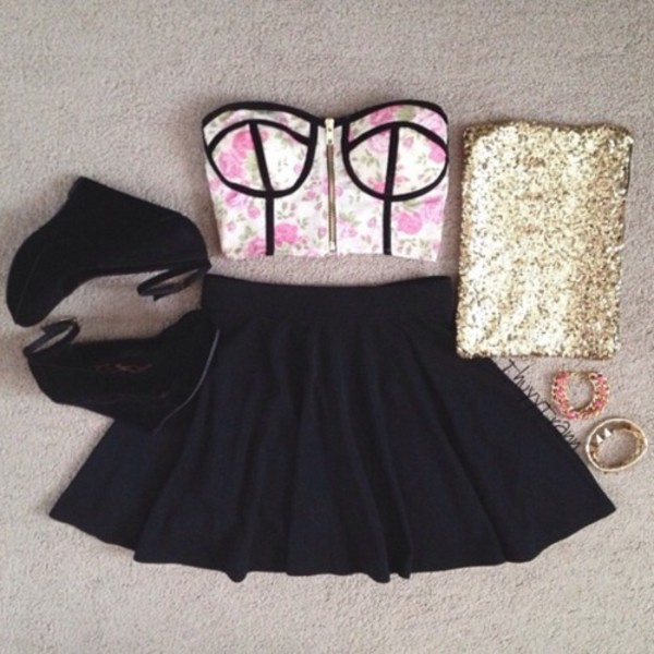 skirt clothes cute outfit party summer crush crop tops skater skirt sweet sexy style love it! bag shoes top jewels heels t-shirt