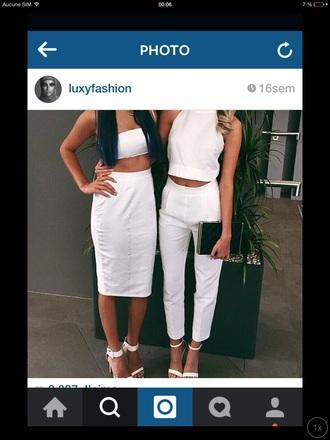 jeans white jeans white top white skirt white shoes pants skirt