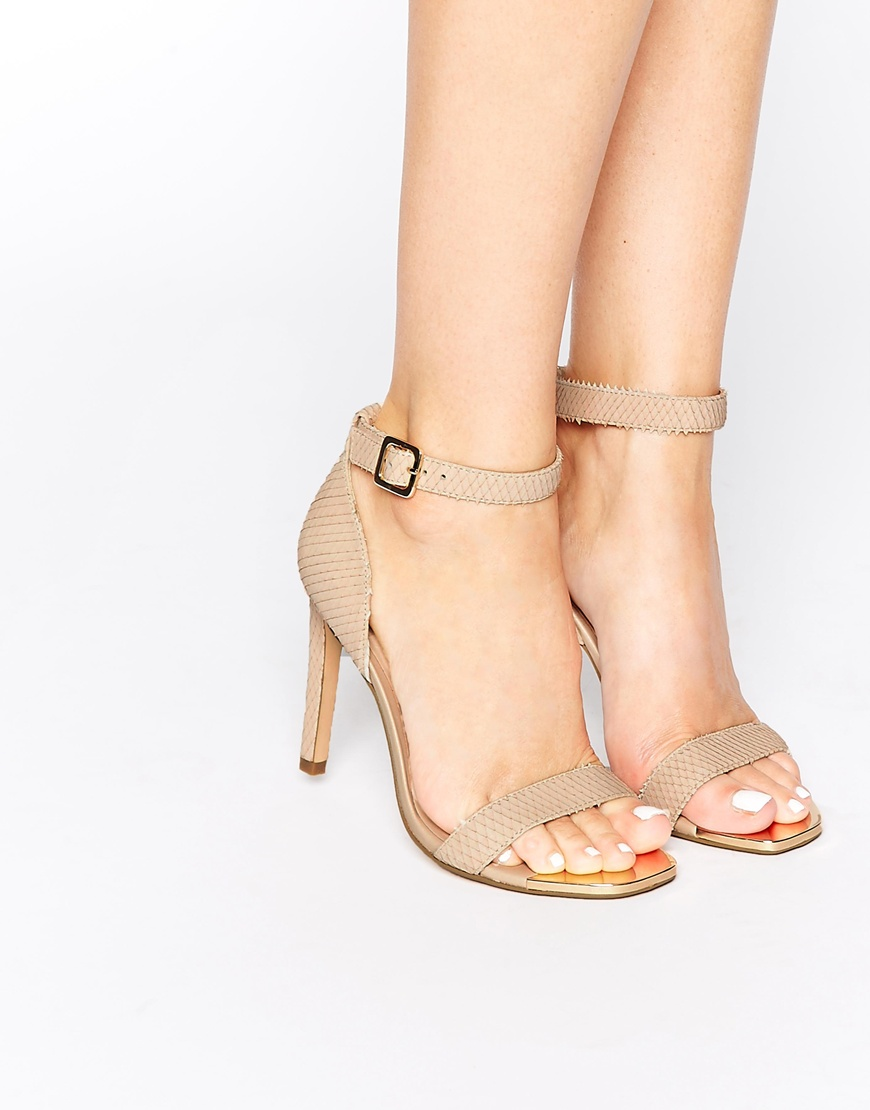 781b98a8dab4 Dune Maggi Nude Snake Effect Barely There Heeled Sandals at asos ...